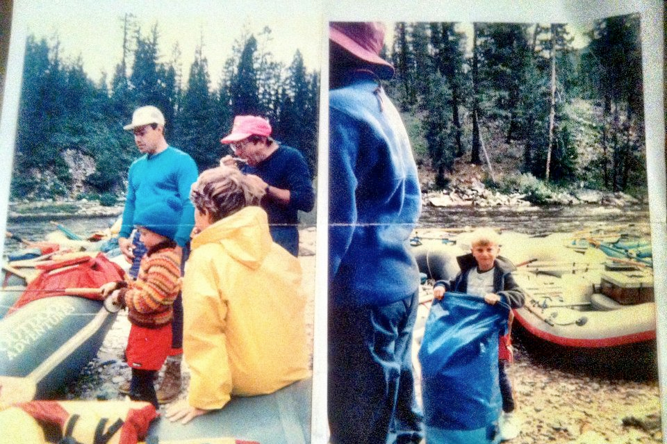 1992: Will Volpert, Joe Slattery, and Bob Volpert on the Middle Fork of the Salmon, Idaho.